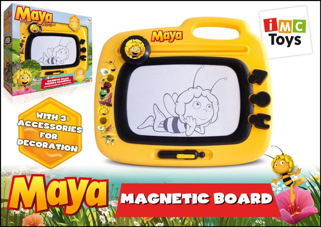 IMC toys Пчелка Майя Доска для рисованияПчелка Майя Доска для рисованияIMC toys Пчелка Майя Доска для рисования - позволит маленькому художнику создавать картинки, изображение наносится специальной магнитной ручкой, которой очень удобно проводить линии и выводить фигуры.   Доску легко подготовить для нового рисунка, достаточно лишь подвигать вдоль доски специальный рычажок. Данная модель развивает моторику и воображение.  Игрушка выполнена в ярких цветах. С ее помощью ребенок сможет развить мышление, воображение и свои творческие способности.<br>