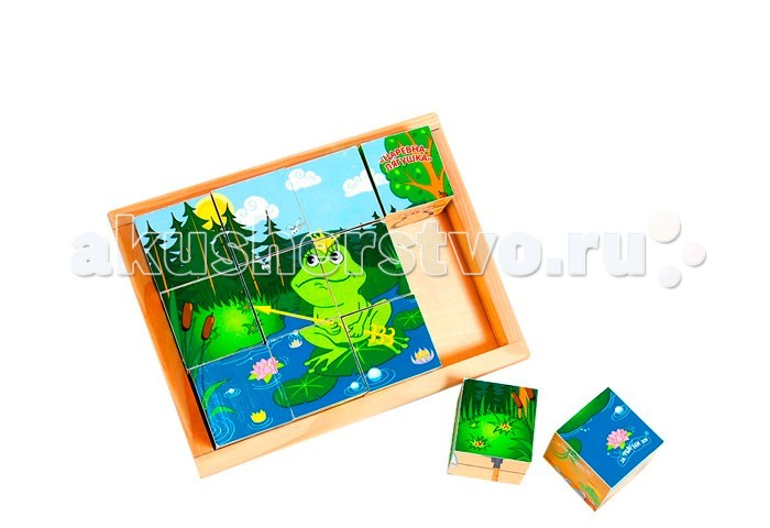 Деревянная игрушка Затейники Кубики Сказки 12 шт.Кубики Сказки 12 шт.Деревянная игрушка Затейники Кубики Сказки - это набор кубиков, из которых ваш малыш сможет собрать красочные картинки с изображением мультипликационных героев.   Игра с данным набором способствует развитию мелкой моторики рук, логического мышления и тактильного восприятия.   Все элементы изготовлены из дерева и полностью безопасны для вашего ребенка.<br>