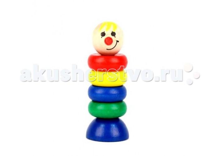 Деревянная игрушка Затейники Пирамидка КлоунПирамидка КлоунДеревянная игрушка Затейники Пирамидка Клоун это развивающая игрушка для детей старше 1 года.   Особенности: Она состоит из 6-ти элементов, которые складываются в пирамидку в виде клоуна.  Игрушка прекрасно развивает мелкую моторику, внимание и усидчивость.  Размеры: 12 х 4.5 см<br>