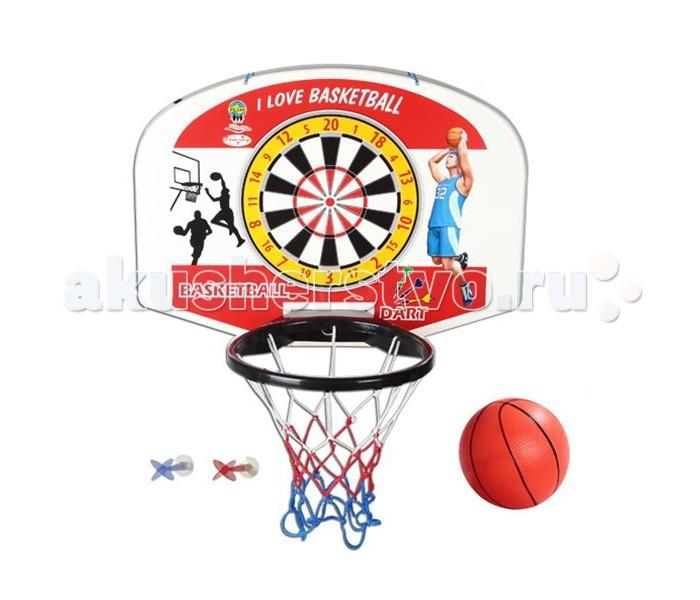 Pilsan Игровой набор Баскетбол + дартс настенныйИгровой набор Баскетбол + дартс настенныйPilsan Bascketball Dart - большое баскетбольное кольцо со щитом и дартсом, для детей от 3 до 8 лет. Игровой набор Pilsan предназначен для активного отдыха на улице и дома. В наборе: баскетбольное кольцо с мячом, табло для игры в дартс и дротики.  Размеры вместе с кольцом: ширина - 34 см длина - 59 см высота - 44 см  В комплекте  - щит;  - корзина с сеткой;  - мяч;  - 3 дротика на присосках.   Материал пластмасса, полиэстер.  Размер игрушки щит - 59х45 см, корзина - диаметр 26 см; мяч – диаметр 12 см; дротик - длина 11 см.  Вес 2,5 кг.  баскетбольный щит крепится в любом удобном месте - на нем есть 2 отверстия для подвешивания (крепежные детали в комплект не входят); корзина с сеткой легко устанавливается на щит и также легко снимается; на щите нанесен рисунок для игры в дартс; безопасные дротики на присосках.<br>