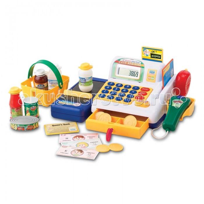 Keenway Набор-кассовый аппарат с предметамиНабор-кассовый аппарат с предметамиДети крайне любопытные создания. Им интересно абсолютно все.  Они с неутолимой жаждой знаний познают окружающий мир.  И чтобы их развитие проходило правильно, родителям следует грамотно выбирать их игрушки.   А Keenway помогает им в этом.  Например, набор «Кассовый аппарат» позволяет осуществить сюжетно-ролевую игру «в магазин», которую так любят все малыши.  Игровые наборы выполнены очень реалистично, а звуковые и музыкальные эффекты позволяют себя почувствовать как в настоящем гипермаркете.   В комплектации находится набор продуктов, корзина для них размером 12*6,5*7 см, набор денег – купюры и монеты разного достоинства, ключ для карты и две пластиковые карты и сама касса 32*18*12 см.  Множество звуковых и световых эффектов делают игру очень интересную.  Например, продукты, выложенные на товарную ленту, пододвигаются ближе к кассиру, если потянуть за разделитель. Пробиваются товары сканером.  На нем расположена кнопка, на которую и нужно нажать продуктом.  В ответ раздастся пикающий звук и загорится огонек индикатора.  Расплатиться за продукты покупатель может наличным путем (деньгами) или безналичным (картой).  Чтобы открыть ящик для денег, кассиру нужно нажать на кнопку Cash, а закрыть его можно при помощи ключа.  Чтобы воспользоваться пластиковой картой, нужно вставить ее в специальное отверстие до упора.  Если все сделать правильно, раздастся характерный звук, и карточка выскачет обратно.   Игрушки для девочек и для мальчиков от Keenway позволят детям познакомиться с окружающим миром, расширить словарный запас, развить логическое мышление и мелкую моторику.   Набор прекрасно подойдет ребенку от 3 лет.  Для игры потребуются 2 батарейки АА, которые уже находятся в комплекте.   Продукция сертифицирована, экологически безопасна для ребенка, использованные красители не токсичны и гипоаллергенны.<br>