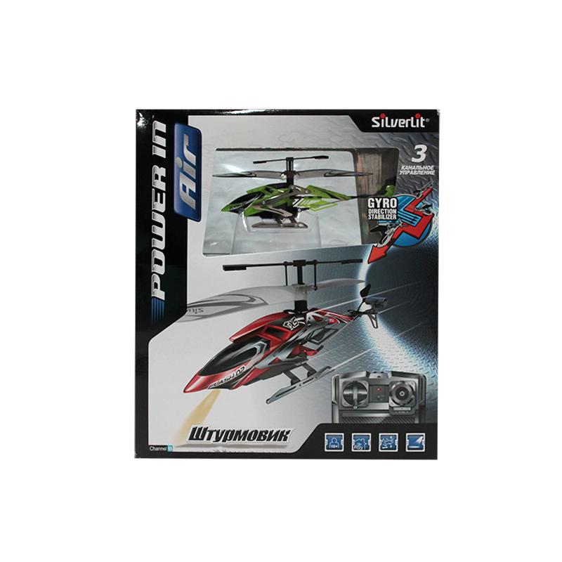 Silverlit 3-х канальный вертолет Штурмовик3-х канальный вертолет ШтурмовикВосхитительный вертолет для увлекательных игр. 3-х канальный вертолет Штурмовик станет великолепным подарком на любой праздник. Дети очень любят радиоуправляемые игрушки, ведь стоит только нажать на кнопку, как они буквально оживают, начинают двигаться и издавать характерные звуки. Не являются исключением и вертолеты на р/у – они еще интереснее, так как они не просто ездят, как обычные машины, а летают, парят над землей. Конечно, вертолетом управлять сложнее, чем автомобилем, так как необходимо научиться вести его ровно по воздуху без резких падений и взлетов, но именно это и привлекает всех детей.  В комплектации игрушки находится удобный пульт управления. С вертолетом на радиоуправлении можно реализовать множество сюжетов, например, когда начинается захватывающая погоня за преступниками, или необходимо осмотреть происшествие сверху, а можно и просто играть с ним, рассматривая, как он облетает препятствия и приземляется на ровную поверхность, к таким играм с радостью подключатся и родители.  Игрушка развивает многочисленные способности крохи – мелкую моторику, пространственное мышление, реакцию и логику.  Продукция сертифицирована, экологически безопасна для ребенка, использованные красители не токсичны и гипоаллергенны.<br>