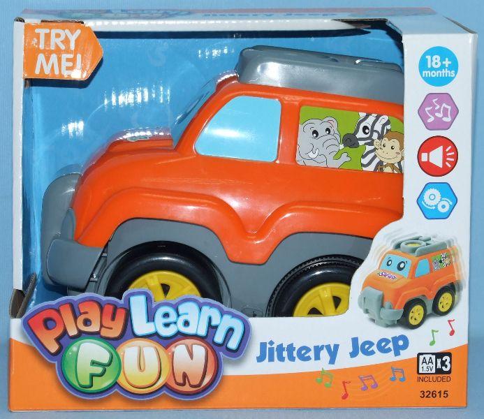 Keenway Игрушка Веселый джип 32615Игрушка Веселый джип 32615Веселый джип – игрушка, которая станет любимой.  Веселый джип от Keenway станет прекрасным подарком для мальчика.  Яркий и красочный, он довольно мощный и готов отправиться в увлекательное путешествие вместе с веселой компанией забавных зверей.  На переднем стекле автомобиля нарисованы глазки, размер которых разный, а на боковых – животные, в числе которых находятся слон, обезьяна и зебра.  Веселый джип проигрывает музыку во время движения.  Чтобы привести машину в движение, нужно нажать на кнопку, расположенную на крыше.  Автомобиль может ехать в разные стороны – он едет вперед, поворачивает и включает задний ход.   Но при этом веселым джипом можно играть и как обычной машинкой. Игровые наборы позволяют малышу развить тактильные ощущения, мелкую моторику и координацию движений.   Веселый джип способствует всестороннему гармоничному развитию крохи - ребенок с удовольствие начнет движение вслед за игрушкой, а родители смогут в процессе рассказать малышу, где находятся у автомобиля колеса, окна и бампер.  Мальчик начнет уверенно осваивать физическое пространство, понимая понятия «быстрый» и «медленный», а так же «вперед» и «назад».   Веселый джип предназначен для ребенка от 1,5 лет.  Для игры потребуются три батарейки типа АА.   Игрушки для мальчиков сертифицированы, экологически безопасны для ребенка, использованные красители не токсичны и гипоаллергенны.<br>