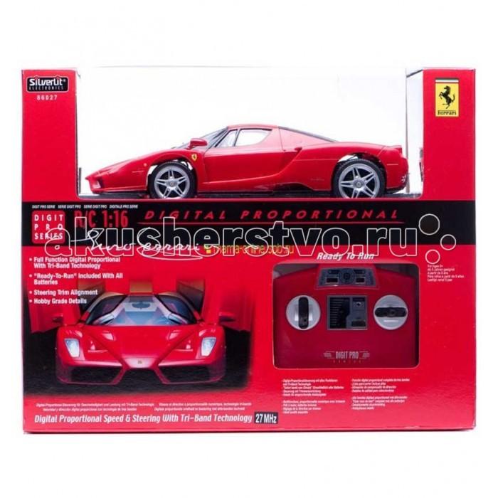 Silverlit Машина на р/у Ferrari Enzo 1:16Машина на р/у Ferrari Enzo 1:16Машина на р/у Ferrari Enzo 1:16  Машинки на р/у Ferrari - продукт компании Silverlit, произведенный по лицензии Ferrari 1:16.  Быстрая, яростная, хитрая и желающая всегда быть первой красавица-машина.  Она - твоя, пришло время проявить способности супер-гонщика!  Функциональность и особенности:  Игрушка прекрасно развивает логику и реакцию, воображение, обучает навыкам игры и обращения с предметами в движении.  Если ребенок играет с другом, игрушка будет способствовать развитию речи, умению активно общаться.   Дизайн гоночного автомобиля выполнен в красных тонах.  Суперкар для гонок хорошо управляем, благодаря использованию новых технологий.  Поэтому научиться правильно с ним обращаться не сложно, нужно лишь стараться. Это бесценно для развития усидчивости, внимания, терпения и умения сконцентрироваться на конкретной задаче.   Высокотехнологичные игрушки – отличный способ помочь ребенку вырасти сообразительным и ловким.  - Автомобиль маневренен.  - Точность движения: авто впишется в поворот даже на высокой скорости.  - Есть возможность изменять скорость. Возможность выбора трех диапазонов каждой частоты. - Есть 2 передние фары - 4 тормозных сигнала, 4 сигнальных огня (включаются при торможении или повороте). - Очень важным моментом является пропорциональное ускорение: напрямую зависит от силы нажатия на газ.  При необходимости световые сигналы можно отключить, нажав на соответствующую клавишу на пульте управления.   В игровой набор входят: - Гоночный автомобиль Ferrari 1:16 на радиоуправлении - Пульт радиоуправления - Руководство пользователя  Питание: - для игрушки: 4 батарейки размера «АА» (в комплекте),  - для пульта: 1 батарейка размера «9V» (в комплекте). Качество исполнения: Игрушка Гоночный автомобиль Ferrari 1:16 выполнена из высококачественной пластмассы, колеса резиновые.   Края аккуратно обработаны.  Радиоуправляемые игрушки безопасны для ребенка, использованные красители не токсичны 