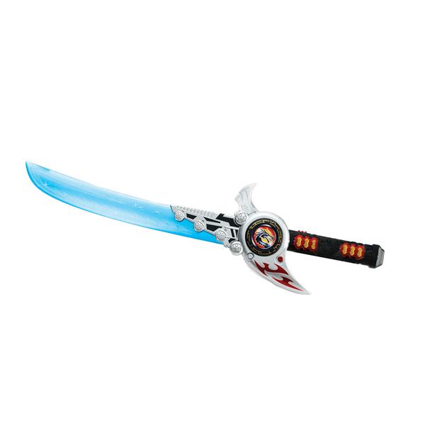 Hap-p-Kid Меч с дискомётомМеч с дискомётомИгрушка Меч с дискомётом — это двойное оружие в одном комплекте!  В набор входит меч со звуковыми и световыми эффектами, который может звучать на 5 разных ладов. Звук и свет активизируется при размахивании мечом.   Кроме того, в комплекте есть диски для метания. Когда дискомет заряжен, то диски выстреливают из меча после нажатия на рычаг, поражая виртуальных врагов!  Игрушка работает от трех батареек типа ААА (в комплекте).  В процессе новой увлекательной игры тренируется мелкая моторика и ловкость движений, зрительное и тактильное восприятие, проявляются фантазии и воображение.   Все составляющие игрушки выполнены из прочного и высококачественного материала, стойкого к изнашиванию и не содержащего в составе вредных красителей.<br>