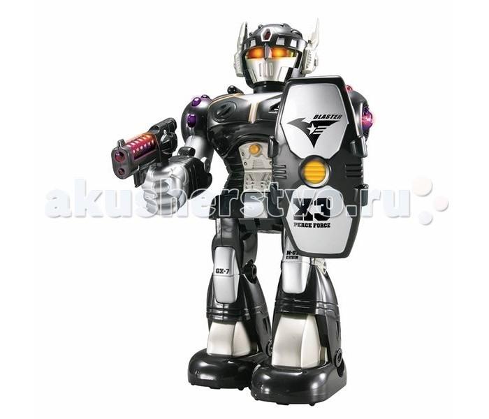 Интерактивная игрушка Hap-p-Kid Робот-воин (черный) 26 смРобот-воин (черный) 26 смКоллекционная фигурка робота-воина с полным боевым арсеналом и со светящимися глазами принесет своему обладателю победу в игровых сражениях.  Игрушечная фигурка имеет подвижные элементы, вращающуюся голову и совершает движение благодаря входящим в комплект элементам питания.   Робот может поворачивать туловище на 360°, оснащен реалистичными звуковыми и световыми эффектами.   С таким функциональным игровым приобретением каждому маленькому фантазеру можно выстраивать различные захватывающие сюжеты и придумывать интересные ролевые игры.   В процессе новой увлекательной игры тренируется мелкая моторика и ловкость движений, зрительное и тактильное восприятие, проявляются фантазии и воображение.   Все составляющие игрушки выполнены из прочного и высококачественного материала, стойкого к изнашиванию и не содержащего в составе вредных красителей.  Работает от 2 батареек типа АА (в комплект входят).<br>