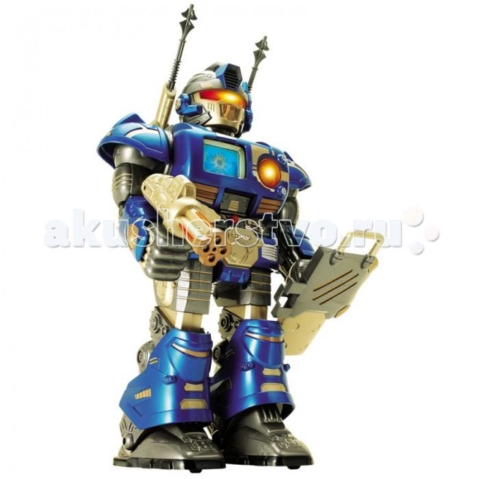Интерактивная игрушка Hap-p-Kid Робот-сержант на и/к управлении (синий) 38 смРобот-сержант на и/к управлении (синий) 38 смИнтеллектуальный робот - очень качественная игрушка бренда Happy Kid. Модели роботов этой компании – яркие, веселые, качественные и умные игрушки, при первом взгляде покоряющие воображение маленького ребенка, вызывающие восторженную улыбку и формирующие позитивное отношение к окружающему миру. Все мальчики любят играть в роботов: сейчас пришло время завести собственного робота-друга.  Играя с Роботом-сержантом, ребенок развивает: логику быструю реакцию и смекалку воображение речь Также ребенок приобретает навыки: игры с игрушками в движении обращения с предметами, требующими умения производить согласованные действия для достижения результата  Особые возможности: робот на радиоуправлении, который ходит, как человек движения сопровождаются световыми и звуковыми эффектами широкие ступни способствуют дополнительной устойчивости имеет 2 режима: демо-режим и режим игры Демо - программа включена изначально на роботе, для её активации необходимо нажать на кнопку Try Me, расположенную на груди робота и тогда она запуститься. Во время демо-программы будут раздаваться различные звуки. В режиме игры робот будет шагать вперед и разговаривать, корпус будет вращаться вправо/влево.  Особенности управления с пульта дистанционного управления (пульт имеет 4 кнопки): Engine - проверка двигателя, Scanner - активизируется сканер, Weapon - наводка орудий, Energy - энергетический уровень. На плечах робота расположены 2 ракеты на пружинном механизме, если нажать на кнопочку, то они выстреливают.  Игрушка робот-сержант снабжена: анимированным экраном лампочкой-показателем уровня зарядки съемным щитом и доспехами оружием со световыми эффектами   В набор входят съемные доспехи и оружие. Работает от батареек: 3 батарейки типа ААА - для пульта (не входят в комплект), 4 батарейки типа АА - для робота.  Игрушка Интеллектуальный Робот-сержант выполнена из высококачественной, уст