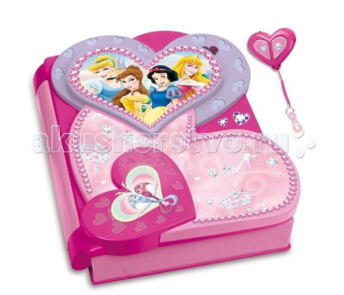 IMC toys Disney Набор Princess секретный дневникDisney Набор Princess секретный дневникIMC toys Disney Набор Princess секретный дневник - секретный дневник выполнен в розовых тонах, на нем изображены Принцессы Disney. Музыкальный, со световыми эффектами.  Дневник обязательно понравится Вашей принцессе, ведь в него она сможет записывать свои мысли, не боясь что их кто-то прочитает.  В комплект входит - фломастер с невидимыми чернилами, надпись от которого можно прочитать только благодаря специальному фонарику.  Дневник закрывается на замочек, поэтому маленькая принцесса может доверить ему свои самые сокровенные тайны, ведь ими тоже хочется поделиться, пусть даже и с дневником.  Требуются батарейки.<br>