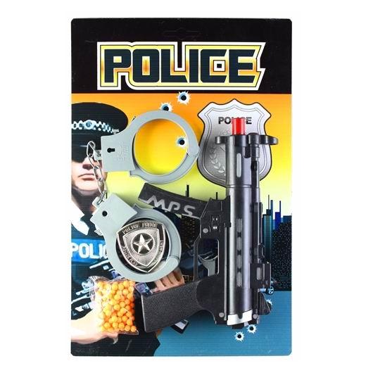 Игрушечное оружие Pullman Police Игровой набор автомат, наручники, полицейский жетон и пульки