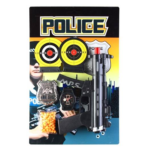 Игрушечное оружие Pullman Police Игровой набор пистолет, 2 мишени, полицейский значок, наручные часы и пульки