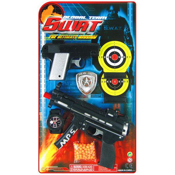 Игрушечное оружие Pullman S.W.A.T. Игровой набор пистолет, автомат, наручные часы, 2 мишени, полицейский значок