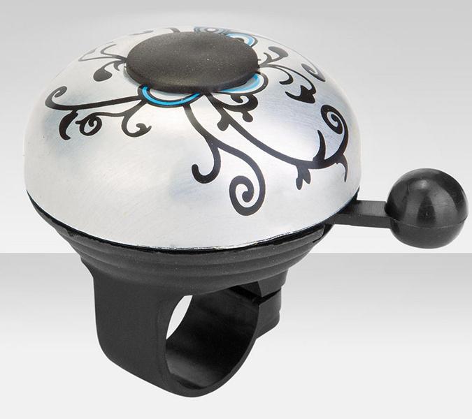 Аксессуары для велосипедов R-Toys Звонок Узор алюминий чёрно-серебристый