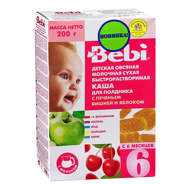 Bebi Молочная Овсяная каша с печеньем вишней и яблоком 200 гМолочная Овсяная каша с печеньем вишней и яблоком 200 гКаша Bebi для полдника молочная овсяная быстрорастворимая С печеньем вишней и яблоком для детей с 6-ти месяцев 200г. Полдник - очень важный прием пищи, он позволяет восполнить энергетические траты организма, снять утомление и психоэмоциональное напряжение во второй половине дня. Полноценный полдник должен включать все три основные макронутриента: белки, жиры, углеводы. В продуктовом выражении это: зерновые блюда, молоко и фрукты.  Состав: овсяная крупа 42%, сухое молоко 31%, измельченное печенье 10%(пшеничная мука, сахароза, сливочное масло, декстроза, растительные масла, сухое молоко), сахароза, концентрированный яблочный сок 5%, пюре из вишни 4% (сахароза, пюре из вишни, пектин), витамины (ретинил ацетат, холекальциферол, токоферол ацетат, тиамина гидрохлорид, рибофлавин, пиридоксин гидрохлорид, аскорбиновая кислота, D-пантотенат кальция, фолиевая кислота, никотинамид, фитоменадион, цианокобаламин, D-биотин) и минеральных веществ (железа дифосфат, калия йодид, цинка сульфат, карбонат кальция). Продукт может содержать следы сои. Пищевая ценность на 100г сухого продукта: белки - 13,7г, жиры - 11,5г, углеводы - 65,8г. Энергетическая ценность 430ккал.   Способ приготовления: к 150мл кипяченой воды, охлажденного до 50-60С добавить 30г (3-4 столовых ложек) хлопьев. Перемешать, и продукт готов к употреблению. Для кормлений используйте только свежеприготовленный продукт. После каждого использования тщательно закрывайте пакет. Хранить в сухом месте при комнатной температуре.<br>