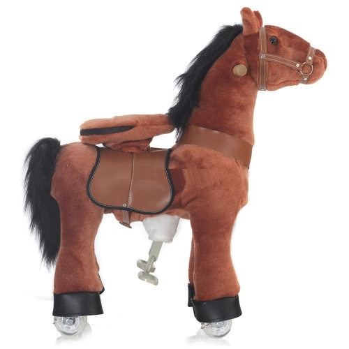 Каталка Ponycycle Рыжая лошадка малая 3171Рыжая лошадка малая 3171Каталка Ponycycle Рыжая лошадка малая озвученная - это детская механическая лошадка, уникальная игрушка для верховой езды, которая позволяет малышу ощутить себя настоящим наездником.   Чтобы привести лошадку в действие Вам не понадобятся батарейки или аккумуляторы, движение происходит механически. Для этого ребенку нужно сесть в седло, лицом вперед, держась руками за деревянные ручки на голове поницикла, надавить на педали-стремена и немного привстать, седло поднимется вверх, затем наездник сгибает колени и седло опускается вниз. Полная имитация верховой езды.  Чем активнее ребенок будет садиться, и привставать в седле, тем резвее будет скакать его лошадка. Ваш малыш получит ни с чем несравнимое ощущение настоящей верховой езды. При этом лошадка не перегружает опорно-двигательный аппарат ребенка, это можно сказать – первый тренажер при игре с которым у ребенка развиваются основные группы мышц. Езда на лошадке положительно влияет на осанку, что немаловажно для дошкольников и школьников младших классов.  Конструкция и материалы: Каркас игрушки изготовлен из высокопрочной стали, рычажно-шарнирный механизм сбалансирован и устойчив, корпус выполнен из пенопласта Ножки игрушки оснащены полиуретановыми колесами, диаметром 80 мм, едут плавно и бесшумно В механизме колес имеется противооткатная защита Экстерьер повторяет внешний вид животного Меховая одежка выполнена из мягкого, гипоаллергенного материала Срок службы 1 год  Важная информация: Всадник обязательно должен сидеть в седле, а не на корпусе поницикла Одновременно кататься на поницикле может только один всадник Поницикл двигается только вперед. Не пытайтесь двигать его назад, так можно повредить колеса Никогда не просовывайте руки между сиденьем седла и корпусом поницикла Хранить поницикл нужно в вертикальном положении, в сухом, проветриваемом помещении От 4-и до 10-и лет  Обслуживание: При необходимости шкурка легко чистится, с помощью моющих средств