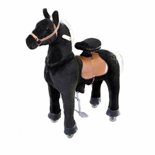 Каталка Ponycycle Черная лошадка малая 3181Черная лошадка малая 3181Каталка Ponycycle Черная лошадка малая озвученная - это детская механическая лошадка, уникальная игрушка для верховой езды, которая позволяет малышу ощутить себя настоящим наездником. Чтобы привести лошадку в действие Вам не понадобятся батарейки или аккумуляторы, движение происходит механически. Для этого ребенку нужно сесть в седло, лицом вперед, держась руками за деревянные ручки на голове поницикла, надавить на педали-стремена и немного привстать, седло поднимется вверх, затем наездник сгибает колени и седло опускается вниз. Полная имитация верховой езды.  Чем активнее ребенок будет садиться, и привставать в седле, тем резвее будет скакать его лошадка. Ваш малыш получит ни с чем несравнимое ощущение настоящей верховой езды. При этом лошадка не перегружает опорно-двигательный аппарат ребенка, это можно сказать – первый тренажер при игре с которым у ребенка развиваются основные группы мышц. Езда на лошадке положительно влияет на осанку, что немаловажно для дошкольников и школьников младших классов.  Конструкция и материалы: Каркас игрушки изготовлен из высокопрочной стали, рычажно-шарнирный механизм сбалансирован и устойчив, корпус выполнен из пенопласта Ножки игрушки оснащены полиуретановыми колесами, диаметром 80 мм, едут плавно и бесшумно В механизме колес имеется противооткатная защита Экстерьер повторяет внешний вид животного Меховая одежка выполнена из мягкого, гипоаллергенного материала Срок службы 1 год  Важная информация: Всадник обязательно должен сидеть в седле, а не на корпусе поницикла Одновременно кататься на поницикле может только один всадник Поницикл двигается только вперед. Не пытайтесь двигать его назад, так можно повредить колеса Никогда не просовывайте руки между сиденьем седла и корпусом поницикла Хранить поницикл нужно в вертикальном положении, в сухом, проветриваемом помещении От 4-и до 10-и лет  Обслуживание: При необходимости шкурка легко чистится, с помощью моющих средст