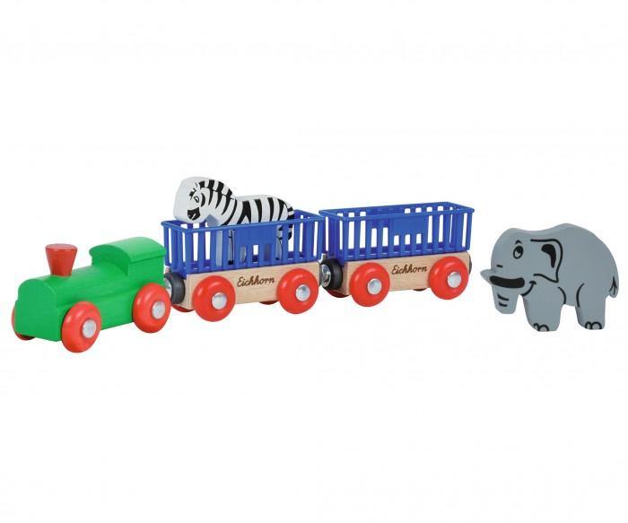 Eichhorn Поезд с 2 вагонами и животнымиПоезд с 2 вагонами и животнымиПоезд с 2 вагонами и животными, длина 24 см,  В набор входят поезд, два вагона и двое животных.<br>