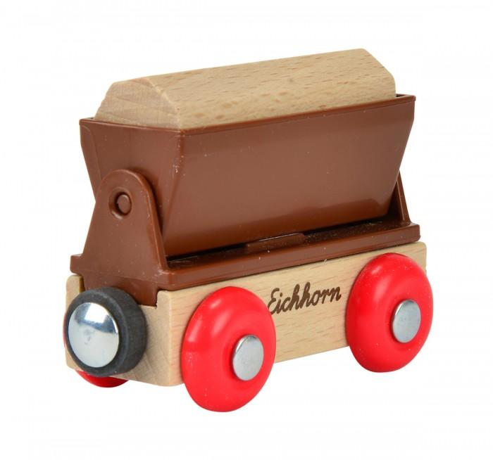 Eichhorn Грузовой вагонГрузовой вагонГрузовой вагон, длина 8см. Грузовой вагон - вагонетка может быть присоединён к любому грузовому составу деревянной железной дороги Eichhorn. Груз имеет встроенный магнитный элемент, благодаря которому можно разгружать и загружать в грузовой вагон кранами деревянной железной дороги.<br>