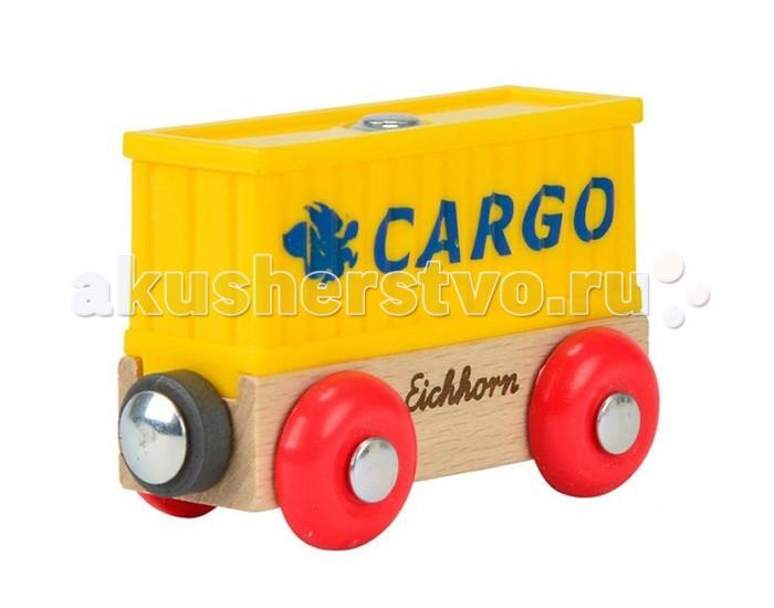 Eichhorn Вагон контейнерВагон контейнерВагон контейнер Длина 8 см. Вагон может быть присоединён к любому грузовому составу деревянной железной дороги Eichhorn.<br>