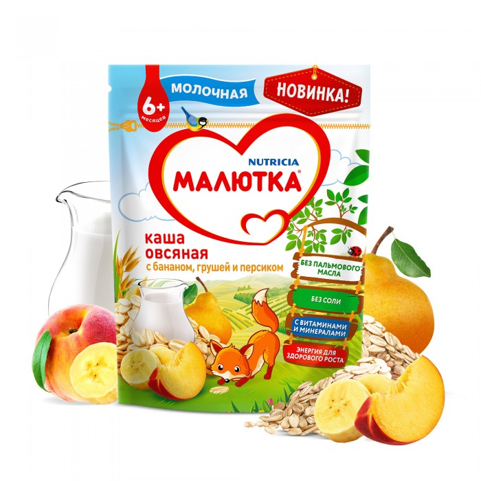 Малютка Молочная овсяная каша с фруктами с 6 мес. 220 г