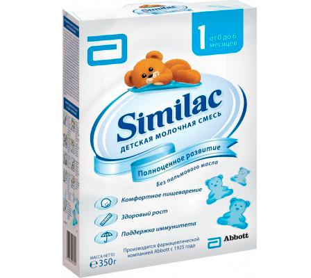 Similac Молочная смесь 1 0-6 мес. 350 гМолочная смесь 1 0-6 мес. 350 гSimilac Молочная смесь 1 без пальмового масла для полноценного развития малыша. Смесь предназначена для искусственного и смешанного вскармливания детей от рождения до 6 мес.  Смесь Similac 1 – хороший выбор для мам при отсутствии грудного молока, так как она способствует поддержанию иммунитета, комфортному пищеварению, полноценному росту и развитию малыша.  Особенности: Уникальная смесь растительных жиров без пальмового масла  Витамины, кальций и другие минеральные вещества Комфортного пищеварения  Пребиотики (галактоолигосахариды)  Уникальная смесь растительных жиров без пальмового масла Развития иммунитета  Пребиотики (галактоолигосахариды)  Нуклеотиды Развития головного мозга и зрения  Комплекс жирных кислот Омега 3  Омега 6, в том числе арахидоновая (АК) и докозагексаеновая (ДГК)  Таурин, холин, цинк и железо  Состав: собезжиренное молоко, лактоза, растительные масла (высокоолеиновое подсолнечное масло, кокосовое масло, соевое масло), концентрат сывороточного белка, галактоолигосахариды (ГОС), МИНЕРАЛЫ (кальция карбонат, калия цитрат, натрия хлорид, калия гидрофосфат, натрия цитрат, магния хлорид, железа сульфат, цинка сульфат, меди сульфат, марганца сульфат, калия йодид, натрия селенит), гидролизат сывороточного белка, ВИТАМИНЫ (аскорбиновая кислота, холина битартрат, аскорбил пальмитат, холина хлорид, ниацинамид, кальция d-пантотенат, витамина А пальмитат, тиамина гидрохлорид, пиридоксина гидрохлорид, бета-каротин, фолиевая кислота, рибофлавин, витамин К1, d-биотин, витамин D3, витамин В12), эмульгатор соевый лецитин, арахидоновая кислота (АA) из масла M.alpina, докозагексаеновая кислота (DHA) из масла C.cohnii, инозитол, таурин, L- триптофан, НУКЛЕОТИДЫ (цитидин 5'-монофосфат, динатрия уридин 5'-монофосфат, аденозин 5'-монофосфат, динатрия гуанозин 5'-монофосфат), антиокислитель смесь токоферолов, карнитин.    Необходима консультация специалистов.  Молочная смесь предназначена для питания д