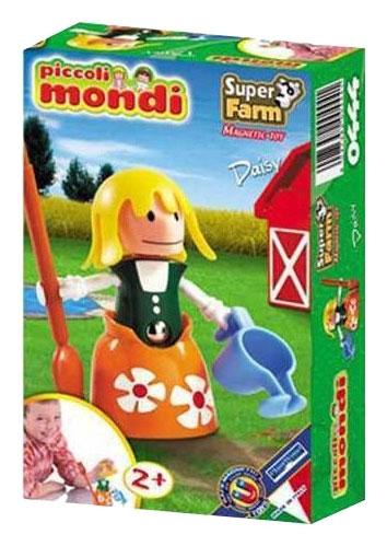 Конструктор Plastwood Piccoli Mondi Super Farm DaisyPiccoli Mondi Super Farm DaisyPlastwood Piccoli Mondi Super Farm Daisy.  Из уникальных деталей набора можно собрать ФЕРМУ с забавными домашними животными и фермером, которые подарят бурю позитивных эмоций малышу.   Принципиально новый набор магнитных конструкторов Supermag специально разработанный для самых маленьких детей (от 2х лет).   Набор сочетает в себе отличное качество и развивающие способности уже признанных и полюбившихся моделей с крупными размерами деталей и отсутствием непосредственного доступа к магнитам для дополнительной безопасности малышей.  Среди множества обитателей весёлой фермы, «Девочка» серии Piccoli Mondi отличается необычайной живостью, деревенским колоритом, умением вести домашнее хозяйство.  Она обязательно поделится своими добродетелями с вашим малышом, а также научит быть настоящим помощником мамочке. Играя  с  девочкой , ребёнок никогда не забудет вовремя полить цветы или  вытереть пыль, любая обыденная работа больше не будет вызывать  неприятие и капризы.<br>