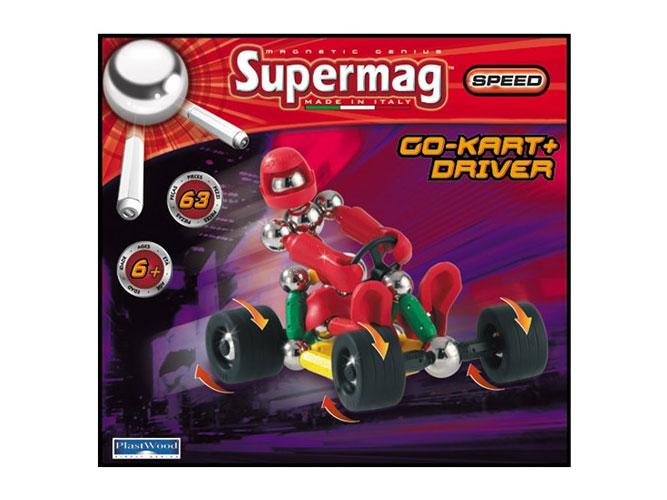 Конструктор Plastwood Supermag Speed Tricycle+DriverSupermag Speed Tricycle+DriverPlastwood Supermag Speed Tricycle+Driver.  Из деталей конструктора можно собрать не только подвижную модель ТРИЦИКЛА с ВОДИТЕЛЕМ, но и любую другую конструкцию, созданную воображением.  Полностью совместим с любым другим магнитным конструктором.  Возраст: 6+ Количество деталей: 63  В комплект входят: магнитные стержни разной длины металлические никелированные шарики с резьбой и без пластиковые гнущиеся и нет стержни с резьбой колеса.<br>