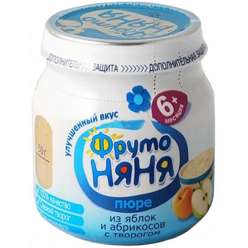 ФрутоНяня Пюре из яблок и абрикос с творогом с 6 мес. 100 г