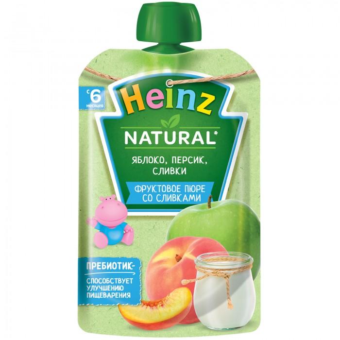 Heinz Пюре яблоко, персик, сливки с 6 мес. 90 гПюре яблоко, персик, сливки с 6 мес. 90 гHeinz Пюре яблоко, персик, сливки   Особенности: Сочетание фруктов и сливок придают пюре очень нежный вкус. Сливки богаты жирорастворимыми витаминами, особенно витамином А, железом и содержат большое количество легкоусвояемого молочного жира, что особенно важно для питания детей, отстающих в весе и с плохим аппетитом.  Яблоки богаты не только пектином, но и сахарами (фруктоза, глюкоза, сахароза), железом, витамином С. Персик содержит натуральное растительное волокно, а также является источником калия, который необходим для работы сердца, сокращения мышц, деятельности нервной системы.  Пюре богато витаминами и минеральными солями, пектином, способным выводить из организма токсические вещества. Содержит органические кислоты и клетчатку, благоприятно воздействующую на работу кишечника. Фруктовое пюре рекомендуется добавлять в один из приемов пищи после основного питания. Так же, как и при введении любого другого прикорма, после введения фруктового пюре в рацион необходимо пристально наблюдать за реакцией малыша на прикорм - следить за состоянием кожи и стулом. При появлении сыпи или жидкого стула следует отменить продукт и посоветоваться с врачом. Без добавления консервантов, красителей и искусственных добавок. Без добавления крахмала.<br>