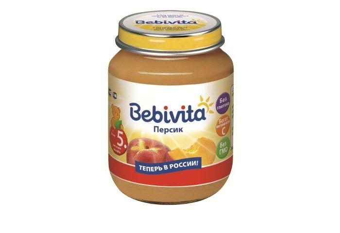 Bebivita Пюре Персик с 5 мес. 100 гПюре Персик с 5 мес. 100 гBebivita Пюре персик приготовлено с заботой – из лучших ингредиентов, которые может дать природа.   Особенности: Витамин С важен для формирования иммунной системы и способствует лучшему усвоению железа Без глютена Не содержит молочный белок Строгий контроль качества на всех этапах производства, тщательно отобранные ингредиенты Без ГМО  Рекомендации по кормлению: Для прикорма детей с 5-ти месяцев. Начиная с 0,5 чайной ложки 1 раз в день, постепенно увеличивая порцию до возрастной нормы. Рекомендуется в качестве десерта или на полдник. Продукт готов к употреблению. Извлечь необходимое количество. Начатую баночку хранить закрытой в холодильнике и использовать в течение суток.  Состав: пюре персиковое, сахар, вода, рисовый крахмал, рисовая мука грубого помола, витамин С.<br>