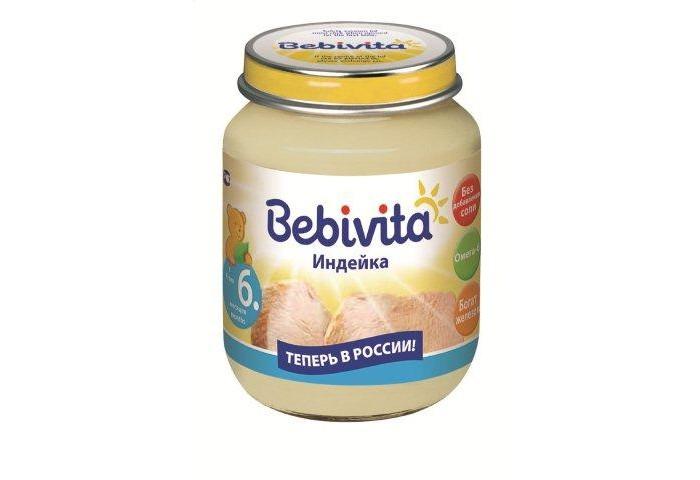 Bebivita Пюре Индейка с 6 мес. 100 гПюре Индейка с 6 мес. 100 гBebivita Пюре Индейка приготовлено с заботой – из лучших ингредиентов, которые может дать природа.   Особенности: Низкоаллергенный продукт: простой рецепт, без глютена, не содержит молочный белок Без добавления соли, чтобы Ваш ребёнок узнал натуральный вкус Кукурузное масло – источник ценных ненасыщенных жирных кислот Омега-6, которые важны для сбалансированного питания Богат железом – важным элементом для кроветворения и умственного развития Без добавления ароматизаторов Без добавления консервантов Без добавления красителей  Рекомендации по кормлению: для детей старше 6-ти месяцев начинайте с 1/2 чайной ложки 1 раз в день, постепенно увеличивая порцию до возрастной нормы. Идеально подходит в сочетании с овощными гарнирами. Извлечь необходимое количество и подогреть на водяной бане или в микроволновой печи, перемешать и проверить температуру. Начатую банку хранить закрытой в холодильнике и использовать в течение суток.   Состав: вода, мясо индейки, мука рисовая грубого помола, крахмал рисовый, масло кукурузное, пирофосфат железа. Содержание мяса: 34 г.<br>