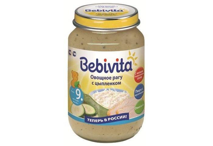 Bebivita Пюре Овощное рагу с цыплёнком с 9 мес. 190 гПюре Овощное рагу с цыплёнком с 9 мес. 190 гBebivita Пюре Овощное рагу с цыплёнком приготовлено с заботой – из лучших ингредиентов, которые может дать природа.   Особенности: С низким содержанием соли – для нежного натурального вкуса Кукурузное масло – источник ценных ненасыщенных жирных кислот Омега-6, которые важны для сбалансированного питания Без глютена Без ароматизаторов, красителей, консервантов Не содержит ГМО Не содержит молочный белок  Рекомендации по кормлению: для прикорма детей старше 9-ти, начиная с 1 чайной ложки 2 раза в день, постепенно увеличивая количество к 12 месяцам до 100 г в день. Сбалансированное питание с овощами и мясом. Продукт готов к употреблению. Извлечь необходимое количество и подогреть на водяной бане или в микроволновой печи, перемешать и проверить температуру. Начатую баночку хранить закрытой в холодильнике и использовать в течение суток.  Состав: вода, цукини, мясо цыплёнка, рис, мука рисовая грубого помола, лук, масло кукурузное, крахмал рисовый, соль йодированная. Содержание мяса: 15,2 г.<br>