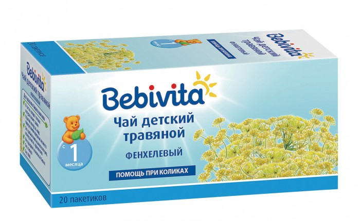 Bebivita Чай травяной детский Фенхелевый с 1 мес. 1 г Х 20 пак.Чай травяной детский Фенхелевый с 1 мес. 1 г Х 20 пак.Bebivita Чай травяной детский Фенхелевый подходит для утоления жажды и служит дополнением к прикорму, вводимому в рацион ребёнка с 4-6 месяцев. При необходимости может использоваться как потогонное средство.  Чай хорошо усваивается и помогает при лёгком расстройстве желудка. Цветки ромашки обладают спазмолитическим и противовоспалительным действием.  Особенности: В состав входят только натуральные полезные травы Не содержит молочный белок Строгий контроль над содержанием вредных веществ Без сахара Без ароматизаторов Без консервантов Без красителей  Рекомендации: В соответствии с возрастной нормой и потребностями малыша.  Состав: плоды фенхеля.<br>