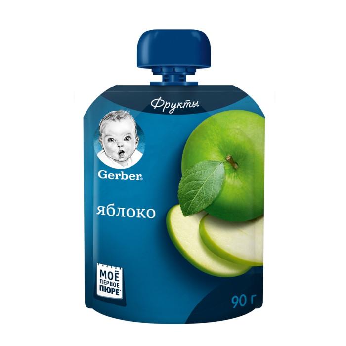 Gerber Пюре Яблоко с 4 мес. 90 г (пауч)Пюре Яблоко с 4 мес. 90 г (пауч)Gerber Пюре Яблоко в новой мягкой и практичной упаковке, подходит детям с 4-х месяцев.  Особенности: Пюре богато витаминами и минеральными солями, пектином, способным выводить из организма токсические вещества Содержит органические кислоты и клетчатку, благоприятно воздействующую на работу кишечника Срок введения прикорма рекомендован в соответствии с методическими указаниями Минздрава РФ Без добавления консервантов, красителей и искусственных добавок. Без добавления сахара, соли, крахмала  Состав: пюре из яблок, сок яблочный концентрированный, сок лимонный концентрированный, витамин С. Без добавления крахмала, сахара.  Изготовлено без использования генетически модифицированных ингредиентов, искусственных консервантов, красителей и ароматизаторов.   Идеальной пищей для грудного ребенка является молоко матери. Всемирная организация здравоохранения рекомендует исключительно грудное вскармливание в первые шесть месяцев и последующее введение прикорма при продолжении грудного вскармливания.  Компания Нестле поддерживает данную рекомендацию. Для принятия решения о сроках и способе введения данного продукта в рацион ребенка необходима консультация специалиста. Возрастные ограничения указаны на упаковке товаров в соответствии с законодательством РФ.<br>