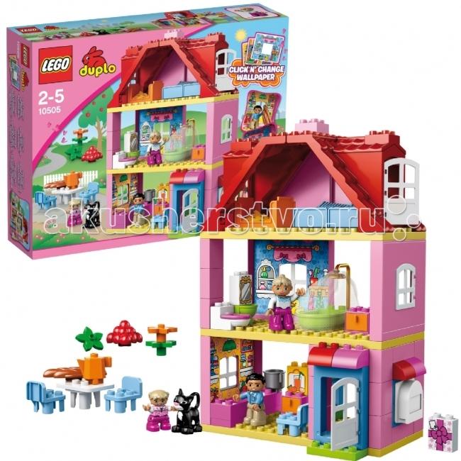 Конструктор Lego Duplo 10505 Лего Дупло Кукольный домик - LegoDuplo 10505 Лего Дупло Кукольный домикКонструктор Lego Duplo 10505 Лего Дупло Кукольный домик собирается из 83 деталей. Все кубики большие, и со сборкой ребенок может справиться самостоятельно.  Построй настоящий дом мечты для семьи вместе с этим набором LEGO® DUPLO®!  Этот конструктор разработан специально для девочек. Дом очень большой, у него 3 этажа, включая чердак.  Все кирпичики Лего выполнены в розовых и красных тонах.   В комплекте множество аксессуаров для украшения интерьера, и 4 мини фигурки – мужчина, женщина, ребенок и черный кот.  В набор входит: 4 минифигурки, включая кота аксессуары для интерьера сменные «обои» инструкция по сборке. Особенности конструктора Lego Duplo 10505: Домик можно собрать по разным схемам.  Количество деталей: 83 шт.<br>