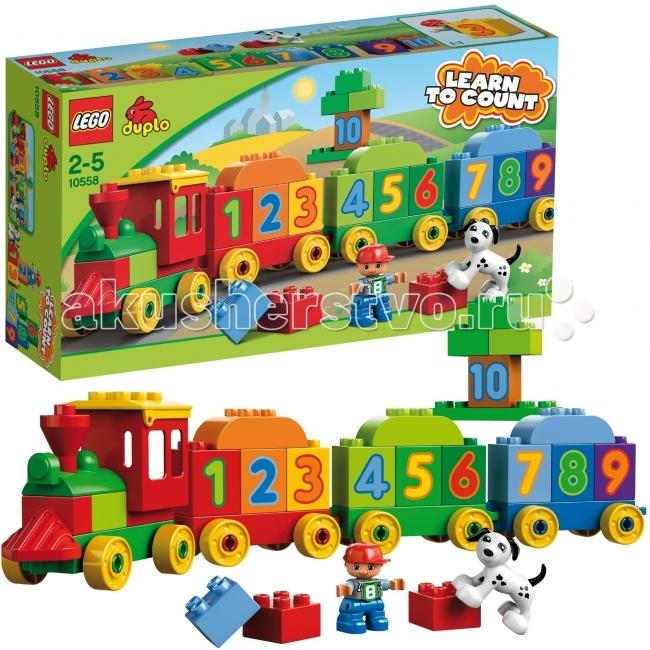 Конструктор Lego Duplo 10558 Лего Дупло Считай и играйDuplo 10558 Лего Дупло Считай и играйКонструктор Lego Duplo 10558 Лего Дупло Считай и играй.  Научиться считать легко с конструктором от LEGO® DUPLO®! Игровой набор «Считай и играй» собирается из 31 детали.   В итоге получается красивый, яркий поезд с цифрами от 1 до 10.  Помогать ребенку считать будут собачка и мальчик – их фигурки входят в комплект.  Кроме поезда, можно построить собачью будку, домик, тоннель и многое другое!  В набор входит: фигурка человечка и собачки 4 основы с колесиками для поезда и вагончиков инструкция по сборке. Особенности конструктора Lego Duplo 10558: Кроме поезда, можно построить разные здания На кубиках изображены цифры от 1 до 10.  Количество деталей: 31 шт.<br>