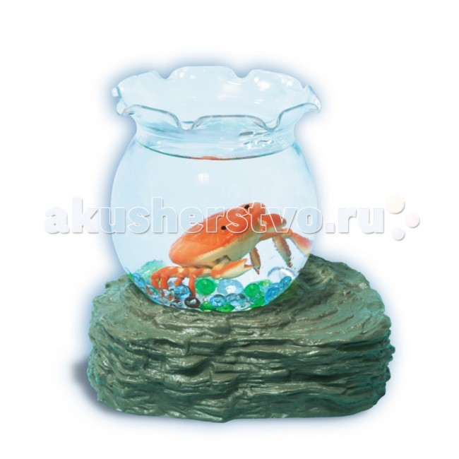УникУМ Набор аквариум с 1 оранжевым крабикомНабор аквариум с 1 оранжевым крабикомНабор аквариум с 1 оранжевым крабиком.  Аквариум привлекает внимание и детей, и взрослых своей красочностью и наглядностью «подводного мира».   Секрет игрушки - в подставке на магните, которая постепенно притягивает и отталкивает ярких рыбок, помещенных в аквариум. Они умеют опускаться на дно и всплывать наверх! Плавают как настоящие! Все, что для этого нужно - вставить батарейки в подставку, налить воду в емкость, - и жизнь в аквариуме «оживает».  Игрушка-новинка ТМ «Уникум» развивает воображение, веселит малышей и знакомит их с окружающим миром.<br>