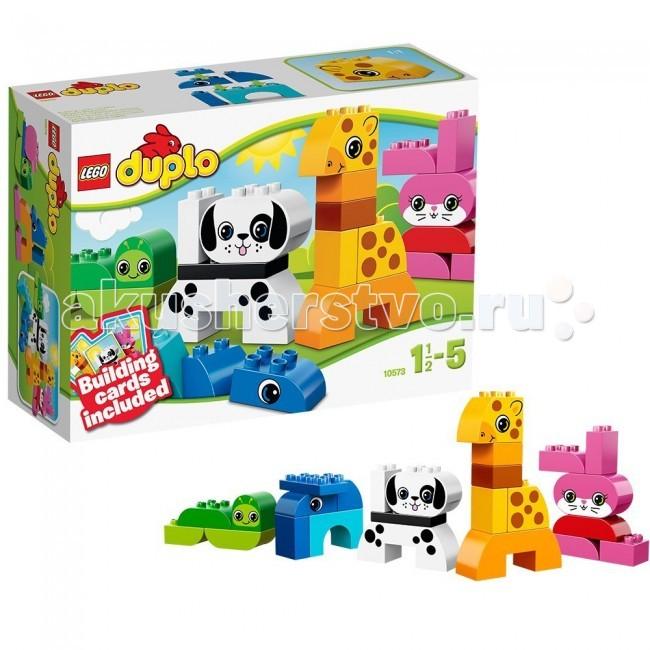 Конструктор Lego Duplo 10573 Лего Дупло Веселые зверушкиDuplo 10573 Лего Дупло Веселые зверушкиКонструктор Lego Duplo 10573 Лего Дупло Веселые зверушки состоит из 25 яркий элементов.  Познакомьте малыша с миром творчества и веселого строительства вместе с этим набором от LEGO DUPLO!  Из кубиков можно создать множество забавных, веселых зверушек - жирафа, собаку, червячка, кролика.  Помогут в этом специальные карточки-подсказки, в которых очень легко разобраться. А потом можно придумать своих, особенных и уникальных созданий! Приготовьтесь отправить в мир бесконечных игровых возможностей Лего!  В набор входит: карточки-подсказки для сборки зверей специальные кубики с мордочками животных кубики инструкция по сборке. Количество деталей: 25 шт.<br>