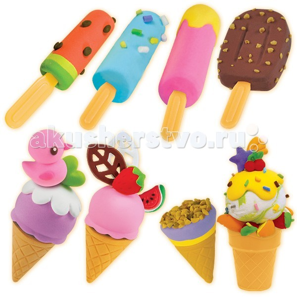 Лавка Чудес Набор массы для лепки МороженоеНабор массы для лепки МороженоеН-р массы для лепки Мороженое 2х35г + 2х15г  Масса для лепки является одним из самых популярных товаров для детского творчества. Занятия с ней помогают ребенку фантазировать и изобретать. Масса очень удобна и приятна в использовании и, что очень важно — она не липнет к рукам и одежде. Масса для лепки очень пластичная, легко смешивается, благодаря чему можно создать огромное количество любых однородных цветов и оттенков.  Поделка полностью высыхает на воздухе в течение 24 часов. Готовую сухую поделку можно декорировать красками, клеем, блестками и др. И ещё одно полезное свойство массы! Если во время творческого процесса вы забыли закрыть пластиковую баночку, и масса для лепки потеряла эластичность, сбрызните её водой с пульверизатора и герметично закройте - волшебные свойства массы для лепки будут восстановлены.  Масса для лепки ТМ Лавка Чудес состоит из экологически чистых материалов. В ее состав входят мука, вода и натуральные красители.  На сегодняшний день ассортимент данной группы составляют 10 позиций. Девять из них – это наборы, включающие в себя массу для лепки, разнообразные формочки, стеки и аксессуары. А одна позиция (Код 18284) – это просто баночки с разноцветной массой.  Все наши наборы снабжены двусторонними формочками. Плюс три позиции (18285,18286,18287) включают в себя пластиковую платформу с колесиками, что позволяет сделать полноценную машинку, с которой впоследствии можно играть. И еще одно из наших преимуществ – это аксессуары, входящие в состав наборов, которые создают целый игровой набор. Например, в наборе «Сделай Суши» есть пластиковая подставка для суш и палочки для еды, в наборе «Сделай Гамбургер» - пакет для картошки фри.<br>