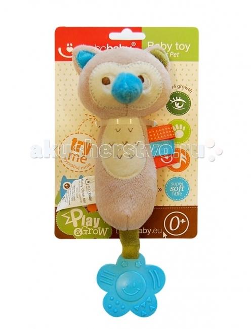 Развивающая игрушка BoboBaby Совенок с прорезывателемСовенок с прорезывателемРазвивающая игрушка BoboBaby Совенок с прорезывателем будет замечательным подарком для вашей крохи!  Мягкая игрушка-пищалка с прорезывателем заинтересует ребенка ярким цветом, необычной формой и разнофактурностью материалов. Играя с данной пищалкой, малыш одновременно будет развивать зрительное и слуховое восприятие, усовершенствует тактильные ощущения, мелкую моторику рук.  Особенности: сделана в виде Совёнка; внутри есть пищащий элемент, нажимая на который, ребенок услышит громкий ненавязчивый звук; изготовлена из высококачественных материалов; прорезыватель поможет малышу облегчить боль и снять зуд во время прорезывания зубов.<br>