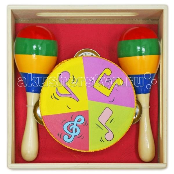 Музыкальная игрушка Лесная сказка ЛС Инструменты, бубен, маракасыЛС Инструменты, бубен, маракасыДеревянная игрушка ЛС Инструменты, бубен, маракасы   Набор инструментов - понравится любому ребенку, изготовлен из экологически чистого и долговечного материала - дерева.   В набор входит бубен и 2 маракаса, инструменты упакованы в удобный ящичек. Инструменты легкие и удобные в обращении, с ярким рисунком.   Набор инструментов способствует развитию слуха, зрительного и музыкального восприятия, координации движений и понимания причинно-следственных связей.<br>