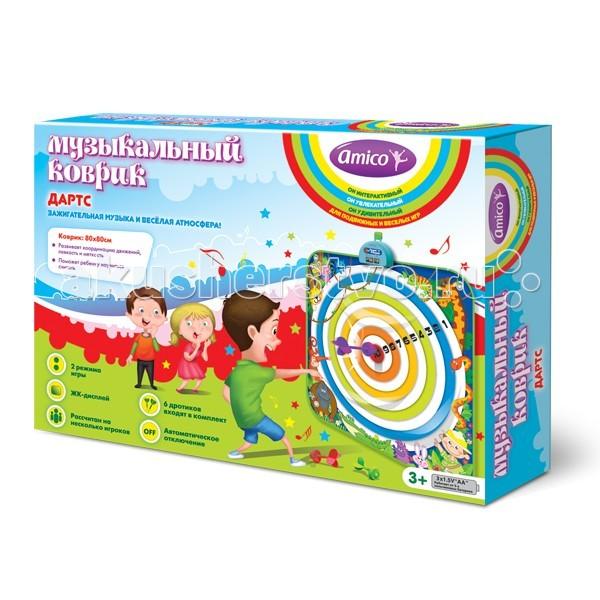 Игровой коврик Ami&amp;Co (AmiCo) Дартс 20609Дартс 20609Коврик музыкальный Дартс.  Музыкальный коврик Amico – это увлекательная игрушка для подвижных игр.  Она способствуют всестороннему развитию ребенка, сочетая в себе элементы игры, танца и спорта.   Коврики реагируют на прикосновения и содержат несколько интерактивных игр, сопровождающихся веселой музыкой и звуками.   Этот коврик обязательно придется по вкусу любителям активных игр.   Попадая в мишень, набирайте очки, которые отображаются на ЖК-дисплее, а мягкие дротики сделают игру безопасной.  2 режима игры, ЖК-дисплей, рассчитан на несколько игроков, 6 дротиков входят в комплект, автоматическое отключение.  Размер коврика: 80 x 80 см<br>