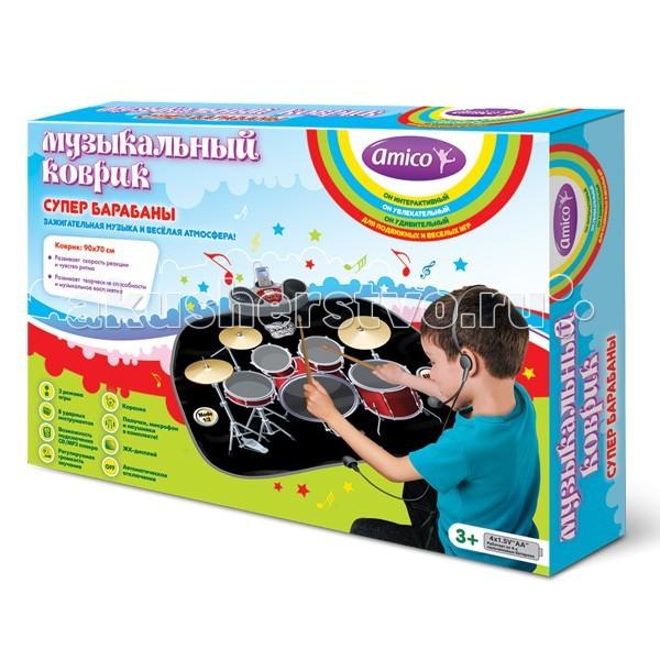 Игровой коврик Ami&amp;Co (AmiCo) Супер барабаны 20590Супер барабаны 20590Коврик музыкальный Супер барабаны.  Музыкальный коврик Amico – это увлекательная игрушка для подвижных игр.  Она способствуют всестороннему развитию ребенка, сочетая в себе элементы игры, танца и спорта.   Коврики реагируют на прикосновения и содержат несколько интерактивных игр, сопровождающихся веселой музыкой и звуками.   «Супер барабаны» - это настоящая ударная установка.  Играя на 8 ударных инструментах, ребенок создает дополнительные звуковые эффекты, которые накладываются на основную мелодию, а подключив к коврику CD/MP3 плеер и микрофон, можно проигрывать свои любимые мелодии и петь.   2 режима игры, 8 ударных инструментов, возможность подключения CD/MP3 плеера, караоке, регулируемая громкость звучания, палочки, микрофон и наушники в комплекте, 5 уровней игры, ЖК-дисплей, автоматическое отключение.  Размер коврика: 78 x 60 см<br>