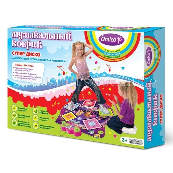Игровой коврик Ami&amp;Co (AmiCo) Супер диско 20592Супер диско 20592Коврик музыкальный Супер диско.  Музыкальный коврик Amico – это увлекательная игрушка для подвижных игр.   Она способствуют всестороннему развитию ребенка, сочетая в себе элементы игры, танца и спорта.   Коврики реагируют на прикосновения и содержат несколько интерактивных игр, сопровождающихся веселой музыкой и звуками.   Наступая на сенсорные клавиши коврика, ребенок создает дополнительные звуковые эффекты в стиле диско, которые накладываются на основную мелодию.   Подключите к коврику CD/MP3 плеер и танцуйте под свои любимые мелодии. 4 фоновые мелодии, 4 скорости, 5 звуковых эффектов, возможность подключения CD/MP3 плеера, мигающие огоньки, автоматическое отключение.<br>
