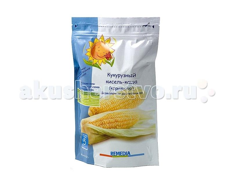 Remedia Безмолочная каша Кукурузный кисель с 5 мес. 200 гБезмолочная каша Кукурузный кисель с 5 мес. 200 гRemedia Каша Кукурузный кисель   Особенности: Для малышей с 5 месяцев. Благодаря растительной клейковине, кукурузный кисель КОРНФЛОР способствует уменьшению количества физиологических срыгиваний и медленному опорожнению Сбалансированные углеводы кукурузного крахмала (декстрины) обеспечивают длительный эффект насыщения.  Содержит большое количество натрия, необходимого для нормального функционирования почек.  Применяется: для профилактики и лечения нарушений со стороны желудочно-кишечного тракта; при синдроме рвоты и срыгивания у детей (в желудке ребенка образуется крахмальный пищевой комок, который препятствует рефлекторному срыгиванию); при диареях, метеоризме (вздутии живота); для профилактики гипотрофии.  Рекомендуется: использовать на начальной стадии перехода от грудного вскармливания к твердой пище.  Можно применять в качестве коррективной добавки.  Состав: кукурузный крахмал, фосфат кальция, фосфат магния, глюконат и фосфат железа, оксид цинка, йодид калия, селенат натрия, ванилин, витамины А, С, В1, В2, В6, В12, Д3, К1, Е, фолиевая кислота, ниацин, биотин, пантотеновая кислота.<br>
