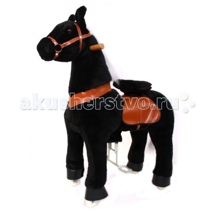 Каталка Ponycycle Черная лошадка профессиональная средняя РА4181Черная лошадка профессиональная средняя РА4181Каталка Ponycycle Черная лошадка профессиональная средняя РА4181 - уникальная игрушка, которая позволит Вашему малышу ощутить себя настоящим наездником.  Лошадка полностью механическая, она не требует ни батареек, ни аккумуляторов. Для того, чтобы лошадка поехала, нужно сесть в седло, а затем садиться и привставать, опираясь на педали-стремена. Чем активнее малыш будет садиться и привставать в седле, тем быстрее поскачет лошадка.  Очаровательная лошадка может ехать не только прямо, она так же может совершать плавные повороты. За ушами лошадки есть деревянные рукоятки-держатели, малыш поворачивает их как руль велосипеда, и лошадка движется направо или налево, может совершить разворот. Назад Поницикл не едет, чтобы иметь возможность взбираться в горку и не откатываться (стопором служит стальной хомут, который не дает колесу прокручиваться назад).  Особенности: Высота лошадки от седла до земли: 64 см Высота в холке: 95 см Расстояние от седла до педалей: 45 см Максимальная нагрузка: 40 кг  Мягкая плюшевая шерсть, роскошная грива, удобные рукоятки и седло приведут в восторг юного всадника.  Отличия усиленной модели для проката от бытовой модели для домашнего использования: внутренний каркас усиленной модели выполнен из стали большей толщины, чем каркас бытовой модели корпус усиленной модели выполнен из армированного стекловолокна и поролона, у бытовой – из пенопласта усиленные модели оснащены более износоустойчивыми колесами противооткатный механизм усиленной модели заложен внутри барабана самого колеса, у бытовых моделей эту функцию выполняет стальной хомут, который не дает колесу прокручиваться назад мех усиленной модели имеет больше молний, позволяющих снять его для чистки усиленная модель выполнена из более износостойких материалов, поэтому имеет больший вес, чем бытовая модель усиленная модель имеет регулировку высоты педалей (2 положения), у бытовой модели 