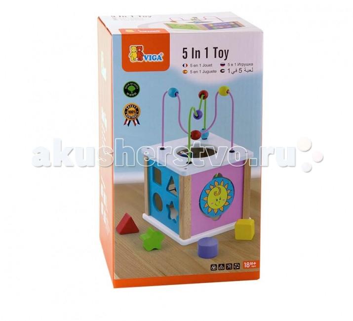 Деревянная игрушка Viga Игровой куб 5 в 1Игровой куб 5 в 1Viga Игровой куб 5 в 1 - это многофункциональный развивающий куб надолго увлечет Вашего малыша. Игра с ним интересна и полезна для развития ловкости, логического и пространственного мышления.   Игрушка выполнена из экологически чистого материала – дерева.   Размер: 20 х 20 х 33.5 см<br>