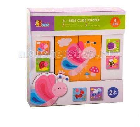 Деревянная игрушка Viga Кубики 4 шт.Кубики 4 шт.Viga Кубики - это увлекательная развивающая игрушка, которая изготовлена из натурального материала - древесины.   Из 4 ярких кубиков ваш малыш сможет собрать 6 картинок. Достаточно лишь в правильном порядке расположить девять кубов и получится изображение.<br>