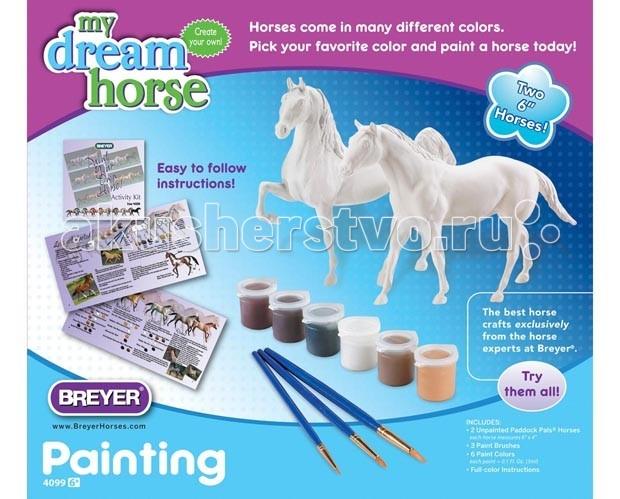 Breyer Раскрась лошадь: квотерхорс и американская верховаяРаскрась лошадь: квотерхорс и американская верховаяНабор для творчества Раскрась лошадь: квотерхорс и американская верхова позволит даже самому маленькому ребенку овладеть азами живописи.   Все необходимые материалы включены: модель лошади - 2 шт, голова и ноги лошади с разделенными областями для красок различного цвета, с указанием номера краски. Краски, кисти, полноцветный буклет инструкция.   Соответствует всем требованиям Американского общества по испытанию материалов- Стандарт D-4236.   Набор предназначен для детей от 6 лет.   Размеры модели лошади Д-15.2 см, В-10.2 см<br>