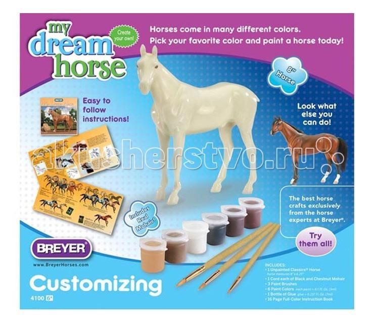 Breyer Набор для творчества Лошадь моей мечтыНабор для творчества Лошадь моей мечтыНабор для творчества «Лошадь моей мечты» позволит вашему ребенку овладеть азами живописи. Вы сможете не только раскрасить свою лошадь, но и создать ей гриву и хвост по своему усмотрению.   Все необходимые материалы включены: скульптура лошади Classics®, краски, кисти, клей, мохер,   Цветной детализированный буклет - инструкция.   Соответствует требованиям Американского общества по испытанию материалов Стандарт D-4236.   Набор рекомендован для детей от 6 лет.   Размер скульптуры лошади: Д-20 см, В-18.4 см.<br>