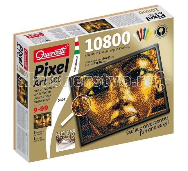 Quercetti Пиксельная мозаика Тутанхамон (10800 элементов)Пиксельная мозаика Тутанхамон (10800 элементов)Создайте поразительное произведение искусства из деталей мозаики! Кладите направляющий лист на наборную доску и вставляйте детали сквозь этот лист, строго следуя цветам квадратиков-пикселей.   В комплекте детали всего лишь 6-ти цветов, но если Вы посмотрите на получившуюся картину с некоторого расстояния, то увидите другие цвета и оттенки, как будто смотрите на фотографию. Таким образом срабатывает принцип пространственного смешения цветов (оптическое смешение цветов, основанное на волновой природе света). Этим принципом пользовались в пуантилизме - направлении живописи, которое появилось в 19 веке. Также этот принцип работает и в печати.  Особенности: высококачественная пластмасса ярких сочных оттенков игрушка предназначена для детей от 10-ти лет поможет ребенку развить координацию движений и мелкую моторику в комплекте 10800 деталей 6-ти цветов, 9 соединяющих плат, 1 фоторамка, 9 шаблонов карт, 1 плакат, инструкции пластиковые элементы можно мыть упакована в красочную коробку<br>